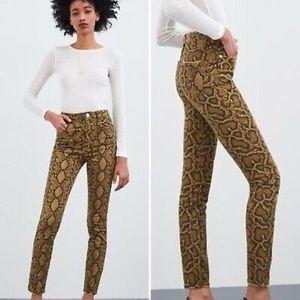 Zara High Rise Snake Print Skinny Jeans -  2 / 00